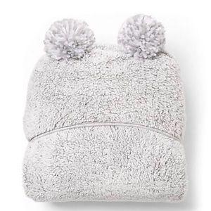 NWT Pom Pom Hoodie Grey Blanket